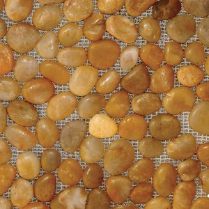 M S International - Natural Stone Pebles Polished Yellow Pebbles Polished 12 X 12 Pebles