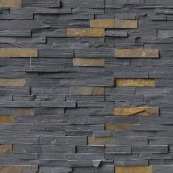 "M S International - Natural Stone Ledgers Charcoal Rust ""L"" Corner Gauged 6 X 18 Ledgers"