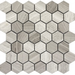 Emser NATURAL STONE Metro Gray Hexagon Large Mosaic On 12x12