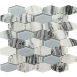 Emser NATURAL STONE Vicenza White Hexagon Wide Mosaic On 12x12