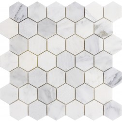 "Emser NATURAL STONE Winter Frost 2"" Hexagon Mix Mosaic On 121"
