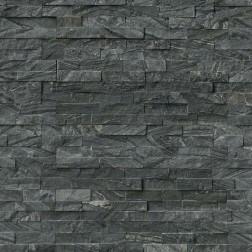 "M S International - Natural Stone Ledgers Glacial Black ""L"" Corner Split Face 6 X 18 Ledgers"