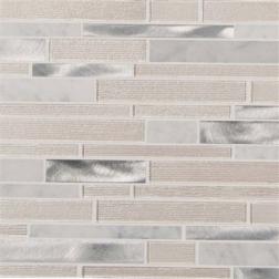 M S International - Mosaics White Wave Interlocking Pattern Mosaics