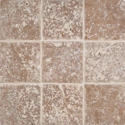M S International - Natural Stone Travertine Tuscany Walnut Tumbled 4 X 4 Travertine