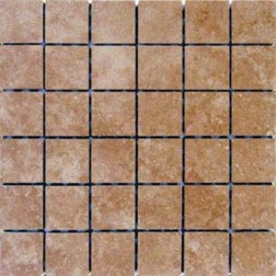 M S International - Tile Travertine Walnut Matte 2 X 2 Porcelain Stone Looks