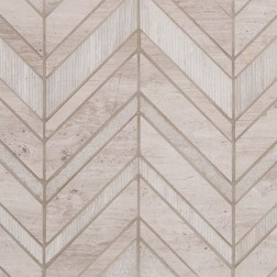M S International - Natural Stone Marble White Quarry Chevron Misc. Pattern Marble
