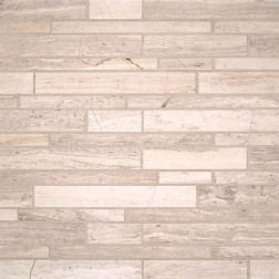 M S International - Natural Stone Marble White Quarry Interlocking Honed Pattern Marble